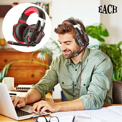 Each 3.5mm Gaming Headset Headphones Surround Mic for PC Laptop PS4 Xbox One