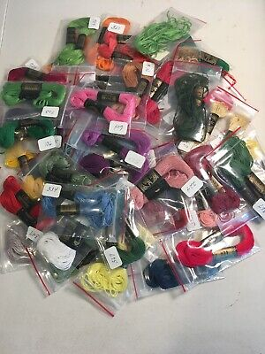 LOT OF 56 DMC EMBROIDERY NEEDLEPOINT THREAD FLOSS SKEINS Variety New Old Stock
