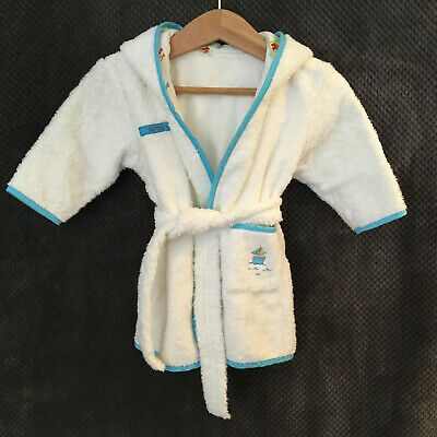 Mothercare ~ Age 0-6 Months ~ White Toweling Robe / Dressing Gown / Bathrobe