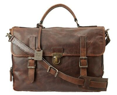 e0d9fb9c1 FRYE LOGAN ANTIQUE Pull Up Flap Briefcase Dark Brown OS NewWOT ...