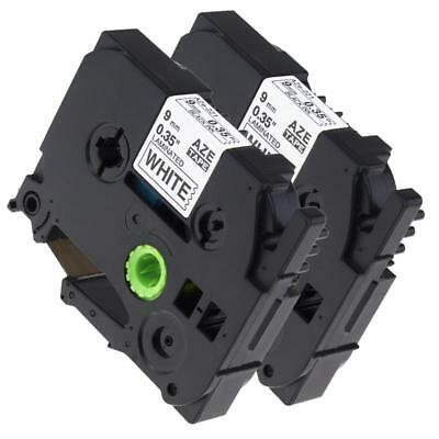 2pk 9mm TZe221 TZe-221 Compatible for Brother P-touch Label Tape Cassette 8m