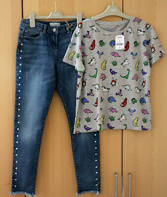 NEXT Girls Skinny Fit Jeans Adjustable Waist & Grey Top Age 7 Years BNWT