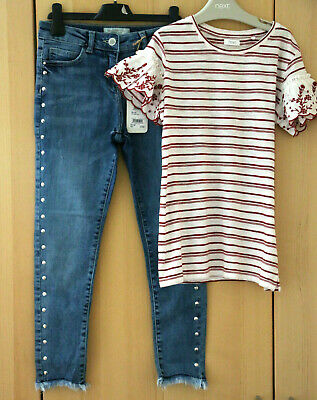 NEXT Girls Skinny Fit Jeans Adjustable Waist & Red Stripe Top Age 10 Years BNWT