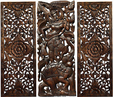 Traditional Thai Figure with Elephant Carved Wood Wall Art Decor Panels.Set of 3