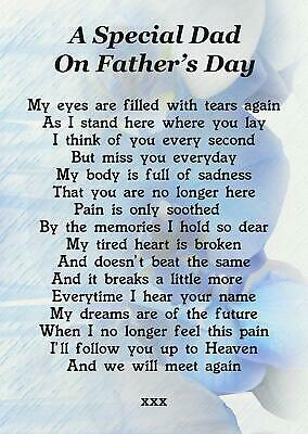 A Special Dad On Father's Day Memorial Graveside Poem Card With Free Stake F178