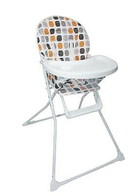 Baby Portable Orange High Chair With Feeding Tray Padded Seat Foldable Highchair