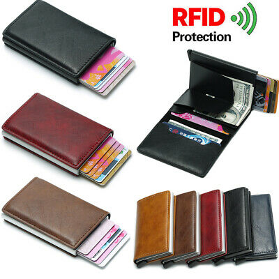 Mens Wallet Quality Leather RFID Blocking SAFE Slim Card Protection Holder Purse