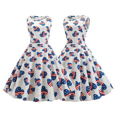 Women American Flag 4th of July Independent Pinup Swing Rockabilly Party Dresses