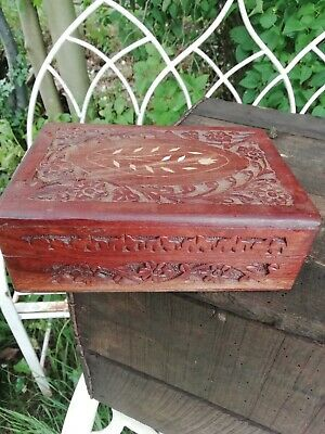Vintage Hand Carved Inlaid Anglo Indian Wooden Lidded Jewellery Trinket Box