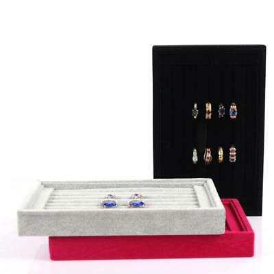 Velvet Glass Jewelry Ring Display Organizer Case Tray Earring Storage Box RE