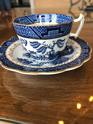 Booths Real Old Willow Blue A8025 Demitasse 2 Pt Cup & Saucer