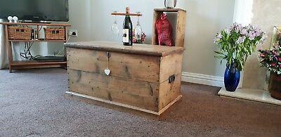 Vintage blanket box/antique COFFEE TABLE Stripped pine BOX /country/farmhouse