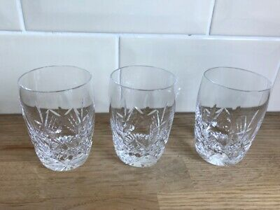 Great Set Of  3 Stuart Glengarry Juice Water Barrel Tumbler  Glasses  8.25cm