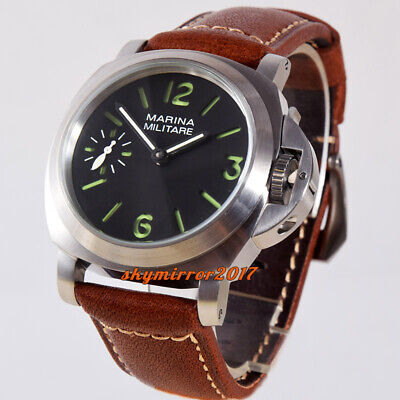 Brushed 44mm black dial hand winding 6497 mechanical parnis watch Military