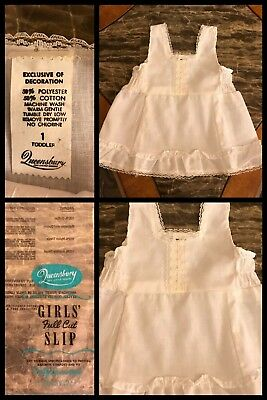 Vintage Full Slip Baby Girls White Ruffle Dress QUEENSBURY Lace 1970s 12 Months