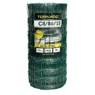 C8/80/15 GREEN STOCK FENCING 50M Galvanised Wire 50 Metres Sheep Fence Net Mesh