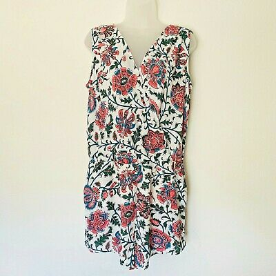 Heartloom Vneck Floral Romper Shorts Open Back Sz Large Casual Pockets