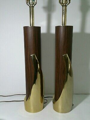 Pair - Vintage Mid Century Modern Brass & Veneer Atomic Sculptural Table Lamps