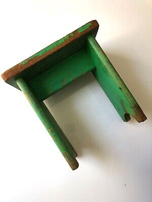 Antique FARMHOUSE Green Paint CRICKET Bench FOOTSTOOL Primitive WOOD Milk Stool