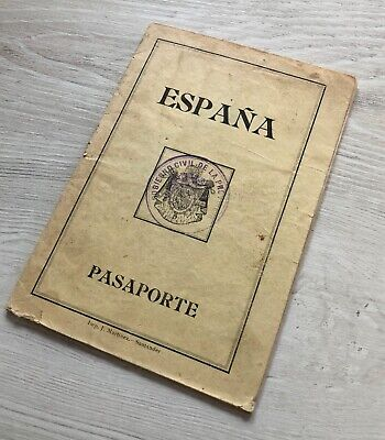Spain / Spanish 1931 collectible passport issued at Santander visas & revenues