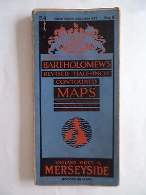 Barts CLOTH Map as Ordnance Survey Merseyside 1937 Chester Southport Bolton Wiga