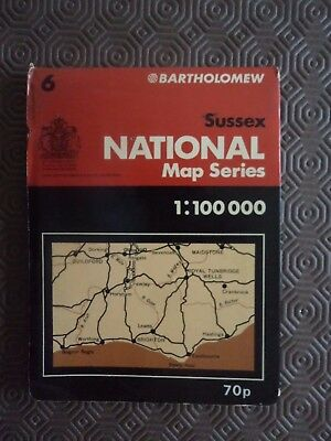 Barts Map as Ordnance Survey 1975 Sussex Guildford Maidstone Hastings Bognor