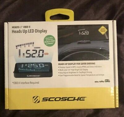 """Scosche Car Vehicle Heads Up 3"""" LED Speed Engine RPM Display Indicator OL 96104"""