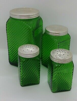 Vintage Green Glass Owens-Illinois Hooster Canister Jars 4 Pcs.