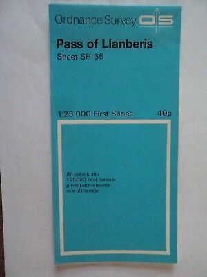 "RARE Ordnance Survey 2.5"" map SH65 Pass of Llanberis 1961 Tryfan,  Pen-y-gwryd."