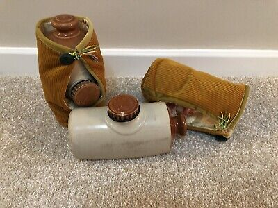 Antique Vintage Ceramic Stoneware Hot Water Bottle /  Bed Warmer With Covers