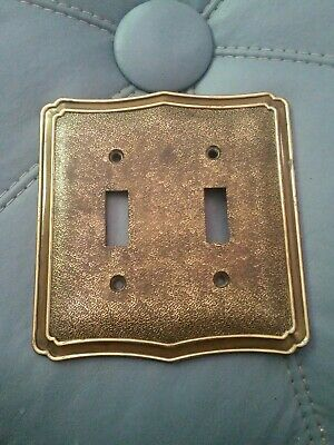 Vtg Amerock Hammered Brass Double Light Switch Plate Cover VGC. #51849