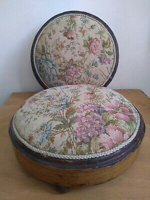 2 Round Victorian Tapestry Footstools