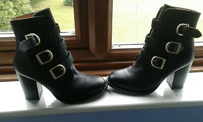 a90c0106a41 TOPSHOP BLACK LEATHER Ankle Boots Size 6/39