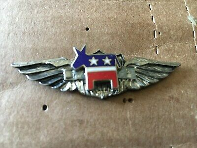 Democratic Political Party Donkey Seal logo wings pin