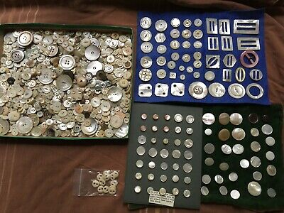 Great Mother of Pearl Buttons 1000+ Plain & Fancy Shell Lot Carved & loop shank