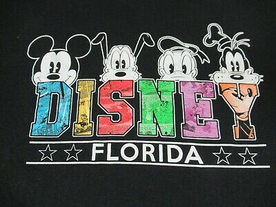 be93092b Walt Disney World Florida Mickey Donald Goofy Pluto Black Xl T-Shirt B1032