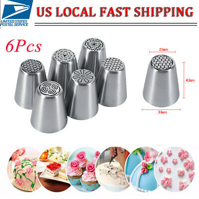 6Pcs Russian Tulip Flower Cake Icing Piping Nozzles Decorating Tips Baking Set