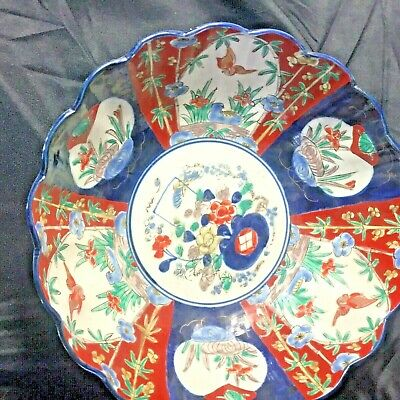 Antique 1800s Japanese IMARI Hand Painted LARGE Bowl Scalloped Rim