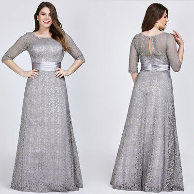 EVER-PRETTY US GREY Lace Bridesmaid Dresses A-Line Formal Mother Of Bride  08878