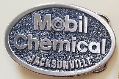 Vintage Mobil Chemical Jacksonville IL Safety Award Belt Buckle Oil