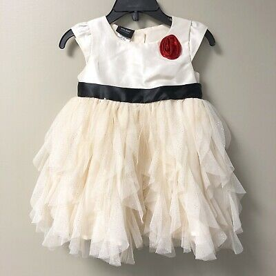 Holiday Editions Baby Girls Dress Size 12 Months Cap Sleeve Glitter Dots Ivory