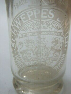 Antique Schweppes Limited London Sydney Syphon Glass Etched Bottle Vintage1920's