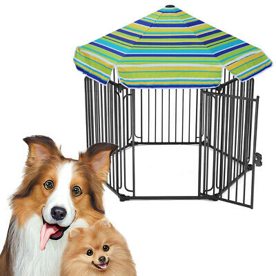 Large Pet Dog Playpen Kennel Cage Playpen Cat Rabbit Metal Run House Fence Roof