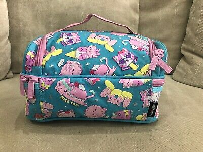 Girls SMIGGLE Lunch Bag Insulated Cat Cupcake Print Zip Bag 2 Compartments [E]