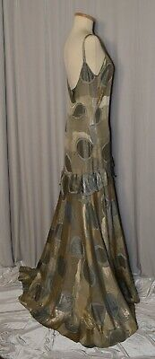 ANTIQUE Vintage 1920s GOLD Lame SILVER Metallic Formal Evening Dress Gown - WOW!