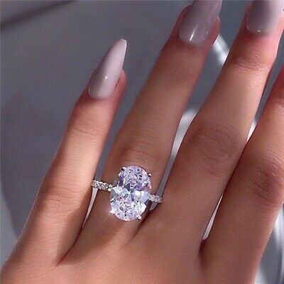 Luxury Oversized Oval White Sapphire Silver Promise Ring Wedding Jewelry Gift