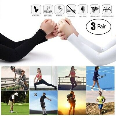 3 pairs (6 pieces) Cooling Arm Sleeves Cover UV Sun Protection Basketball Sport