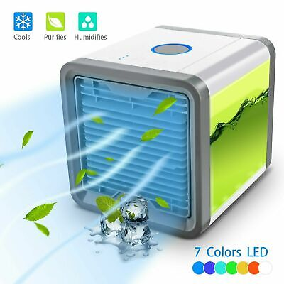 Air Cooler Humidifier Purifier Colour Changing Led Fan Usb Gift Portable