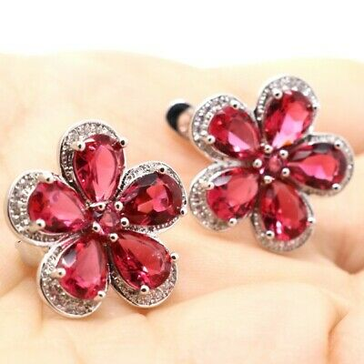 Hand Carved Red Ruby Earring Women Wedding Flower Jewelry 14K White Gold Plated