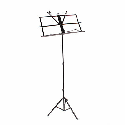 Glarry Handy Portable Adjustable Folding Music Stand with Bag Black C9A4